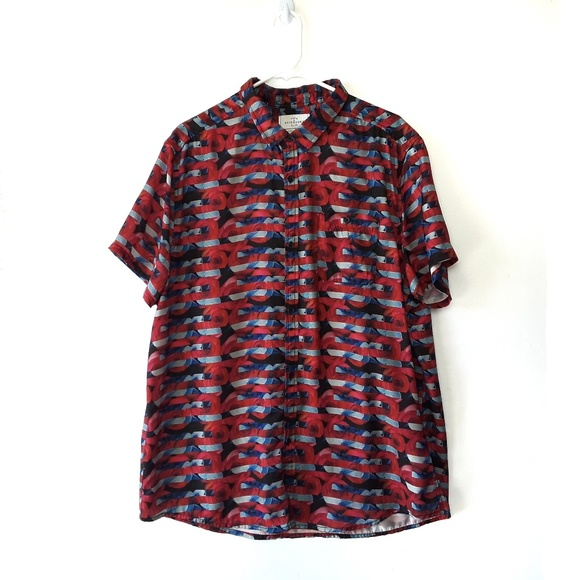 Urban Outfitters Other - Your Neighbors Abstract Floral Striped Button Down